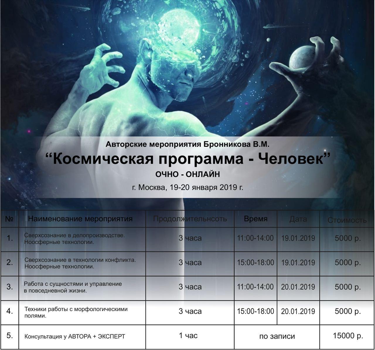 Авторские мероприятия 19-20 января 2019 года «Космическая программа — Человек»